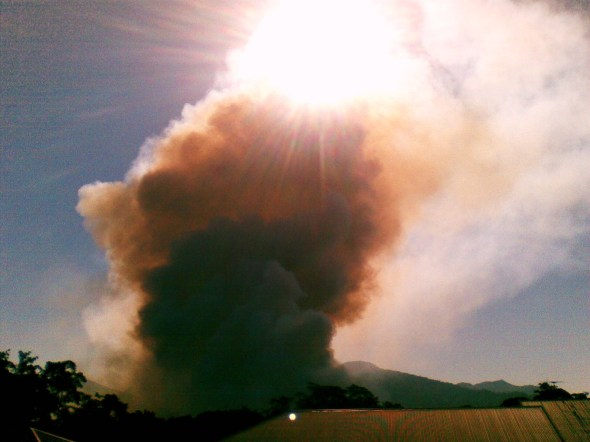 Cane fire plume